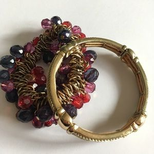 Jewelry - Bracelet Bangle Pair Burgandy Gold